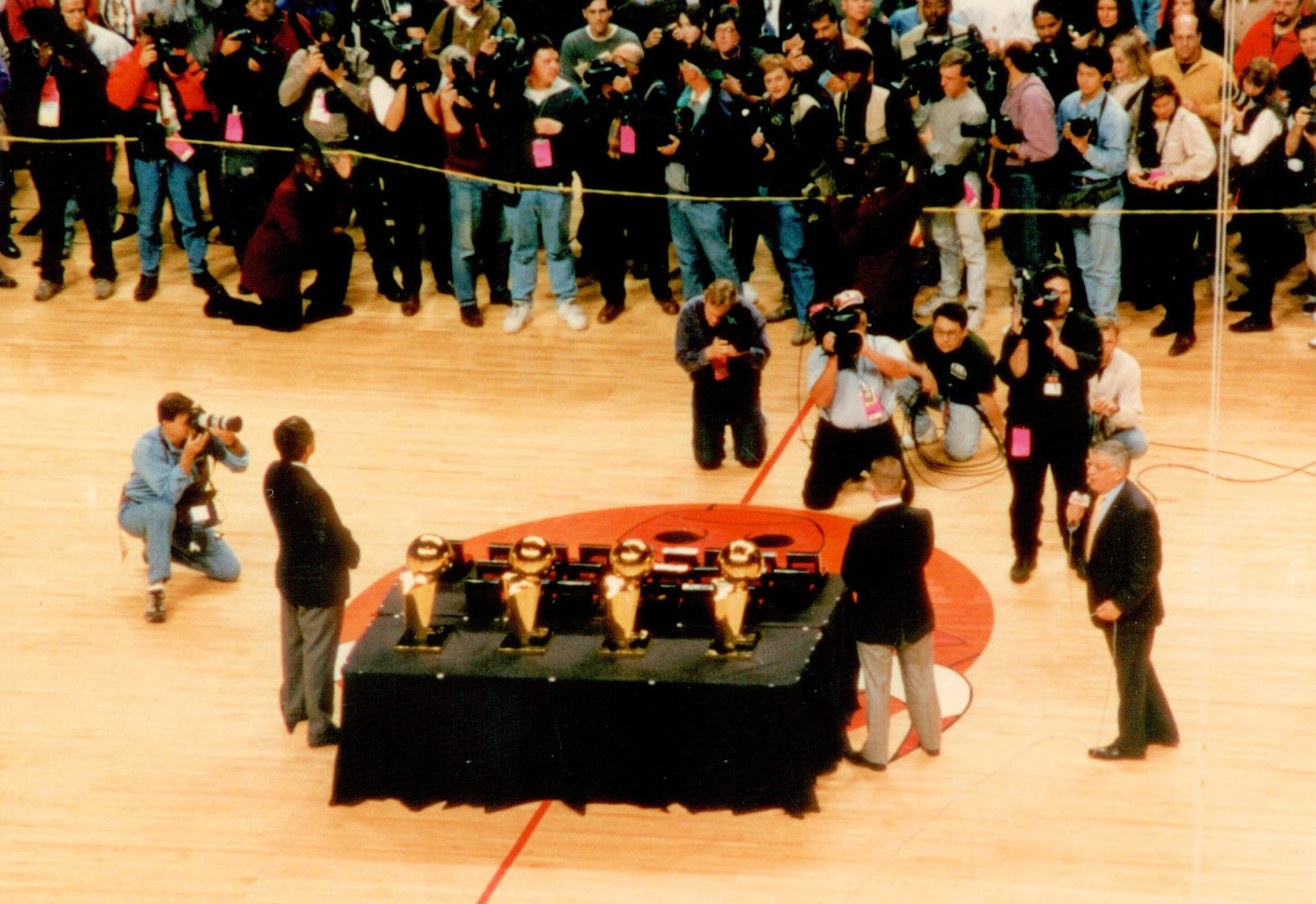 The trophies being presented