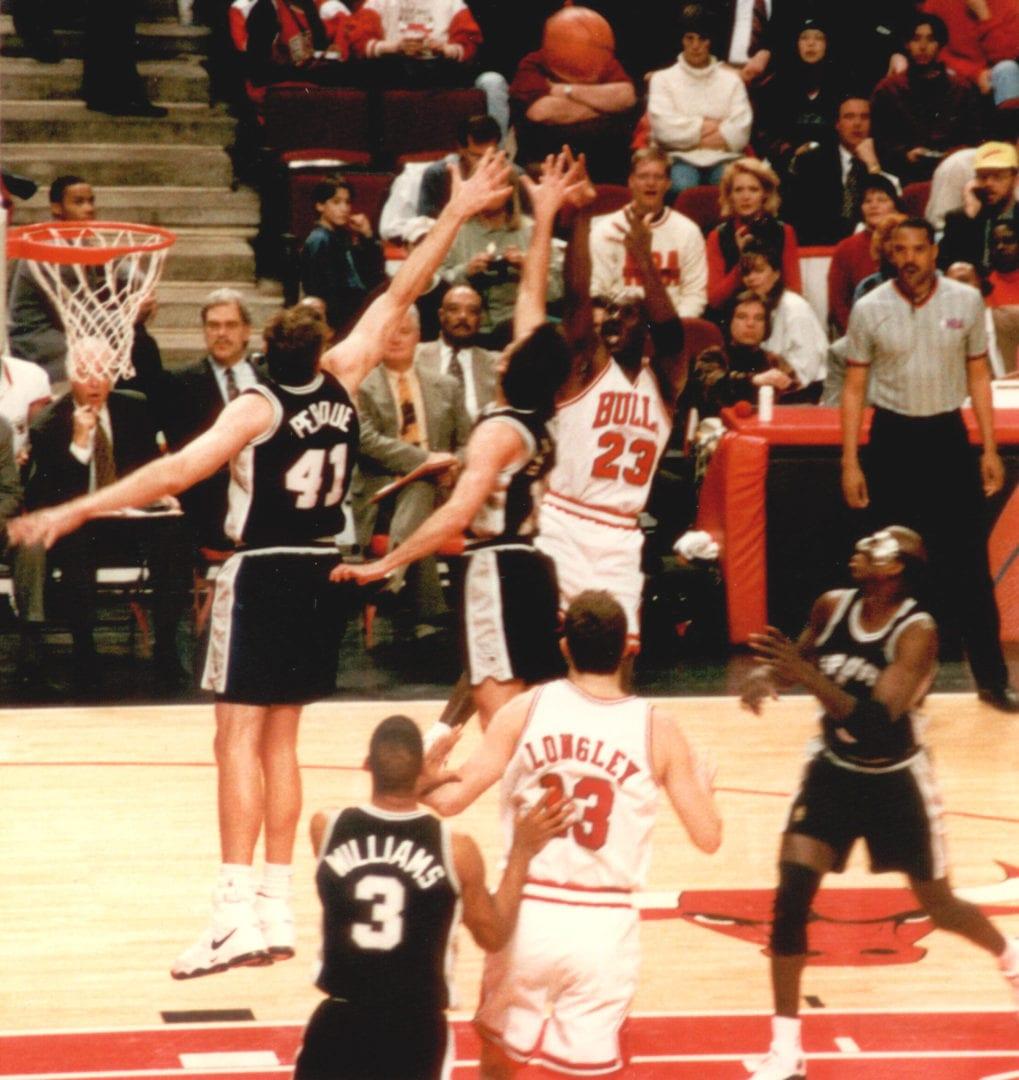 Michael Jordan shooting a ball