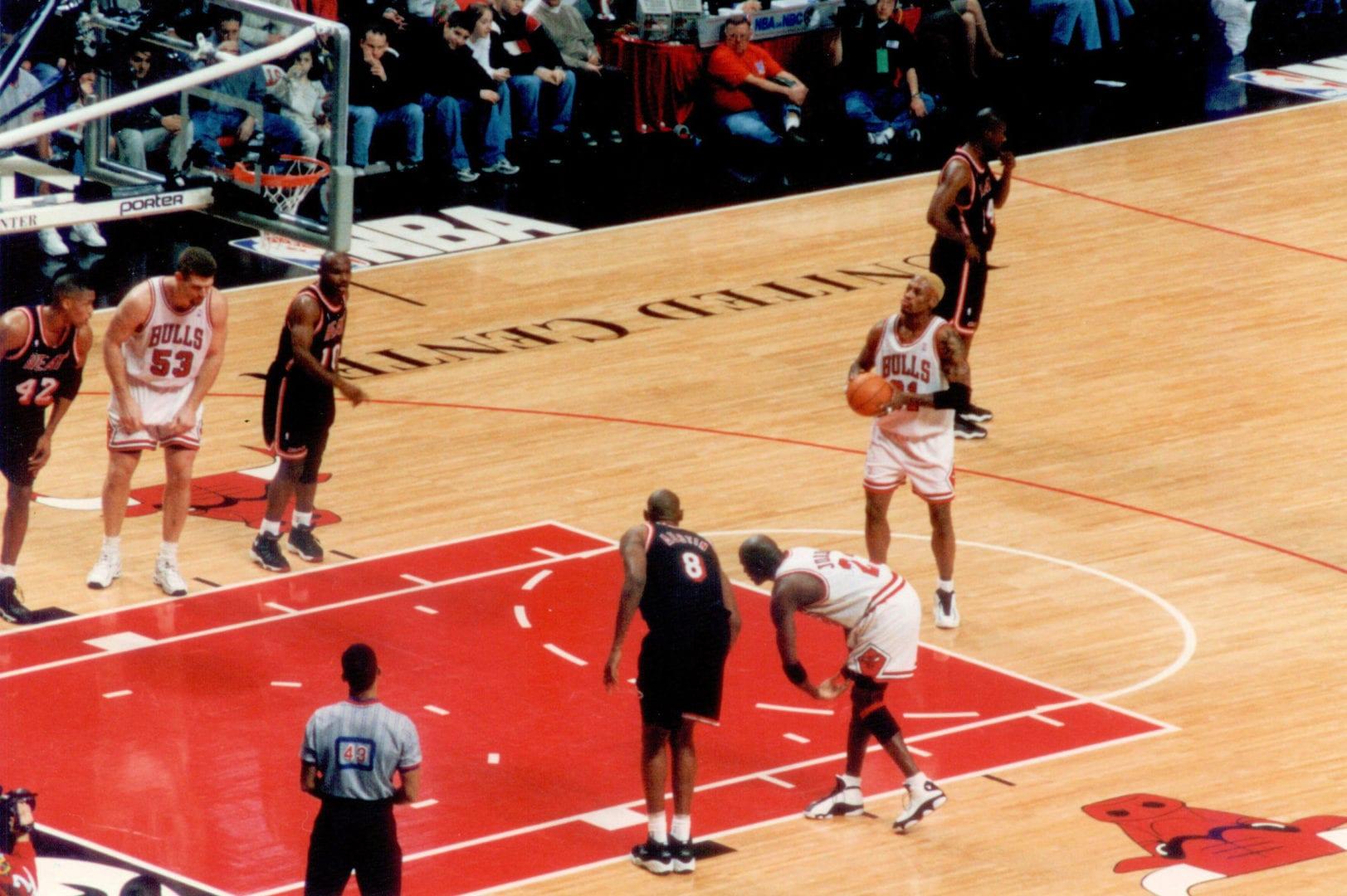 Dennis Rodman taking his free throw