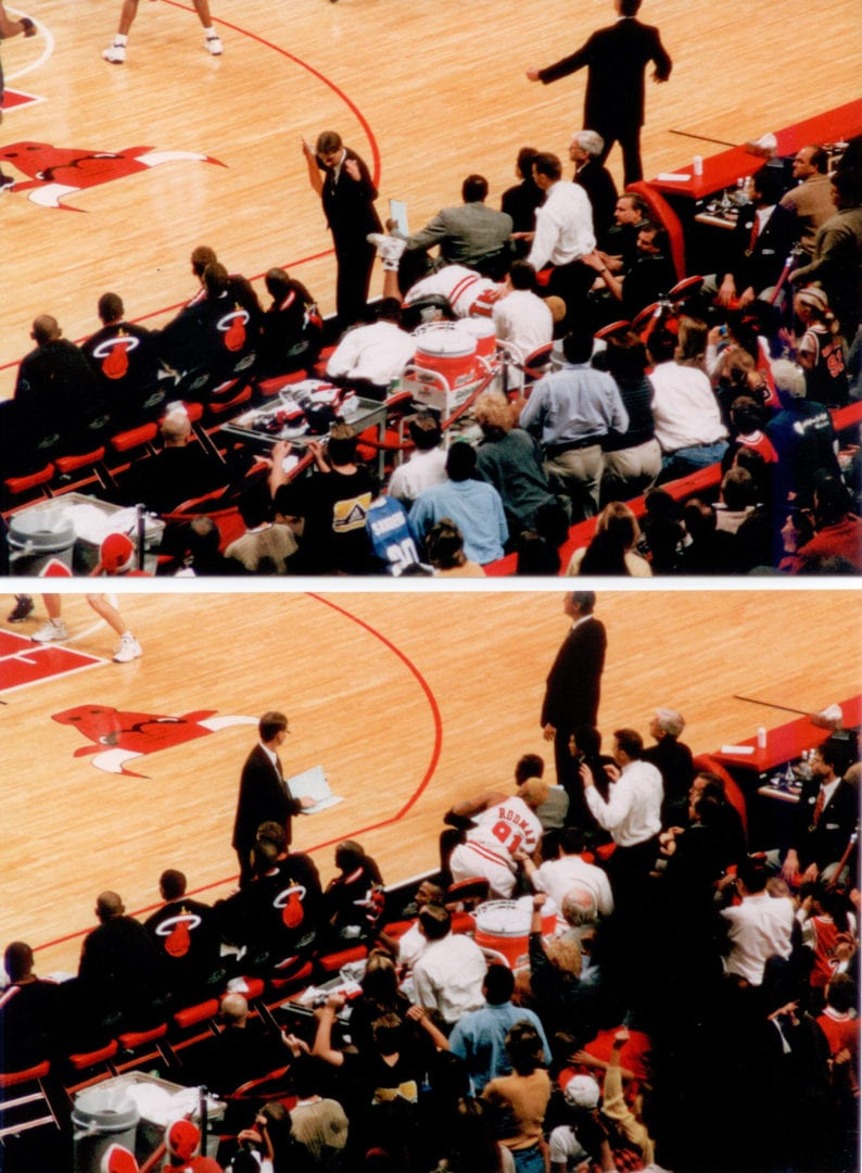 A split image of the Miami bench