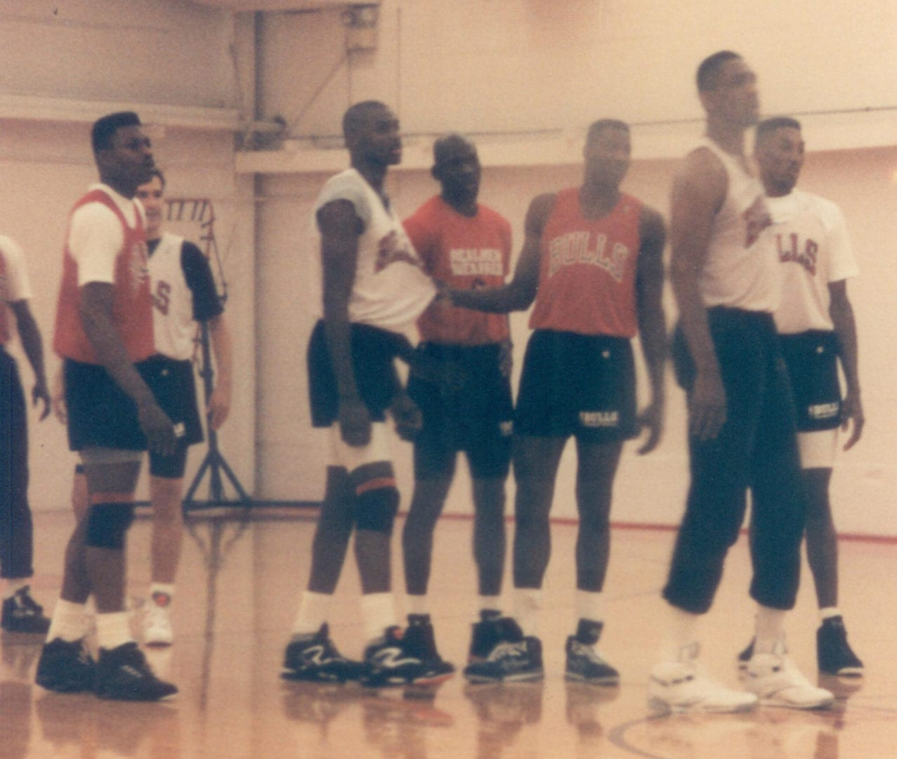 An old photo of basketball players in practice