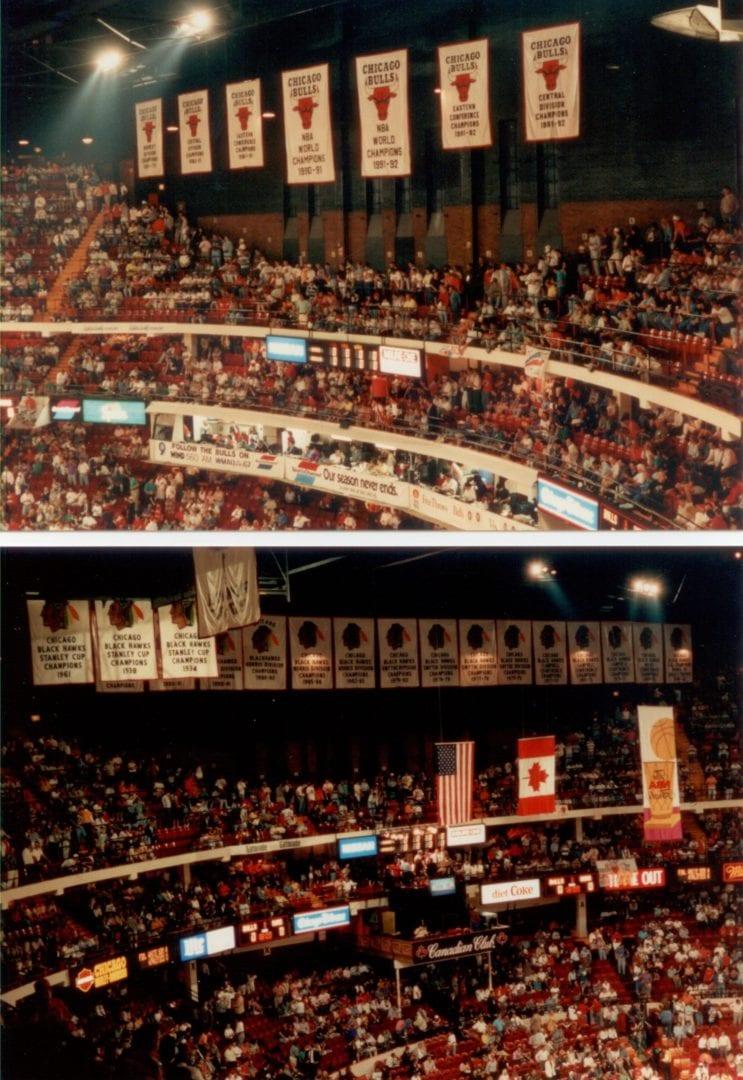 Banners of Bulls and Suns around the stadium