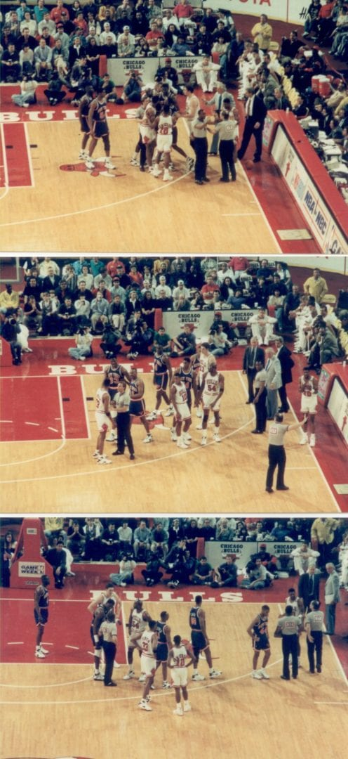 Three split images about the basketball game