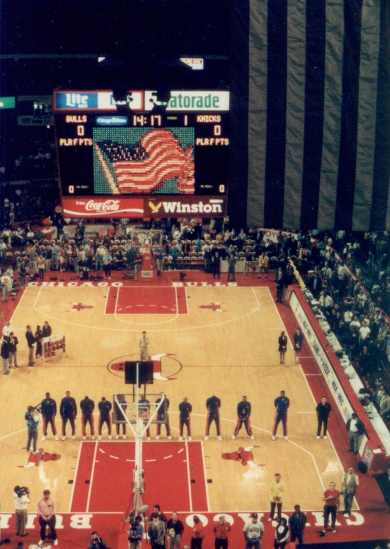 Players standing for the national anthem