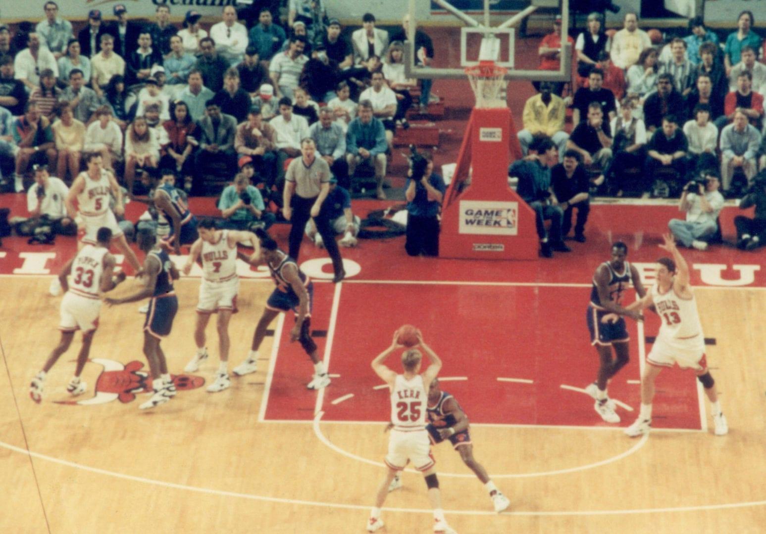 Steve Kerr holding the ball
