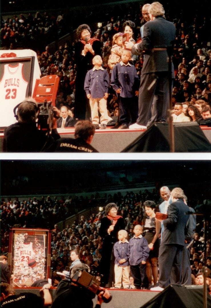 MJ and his family receiving gifts