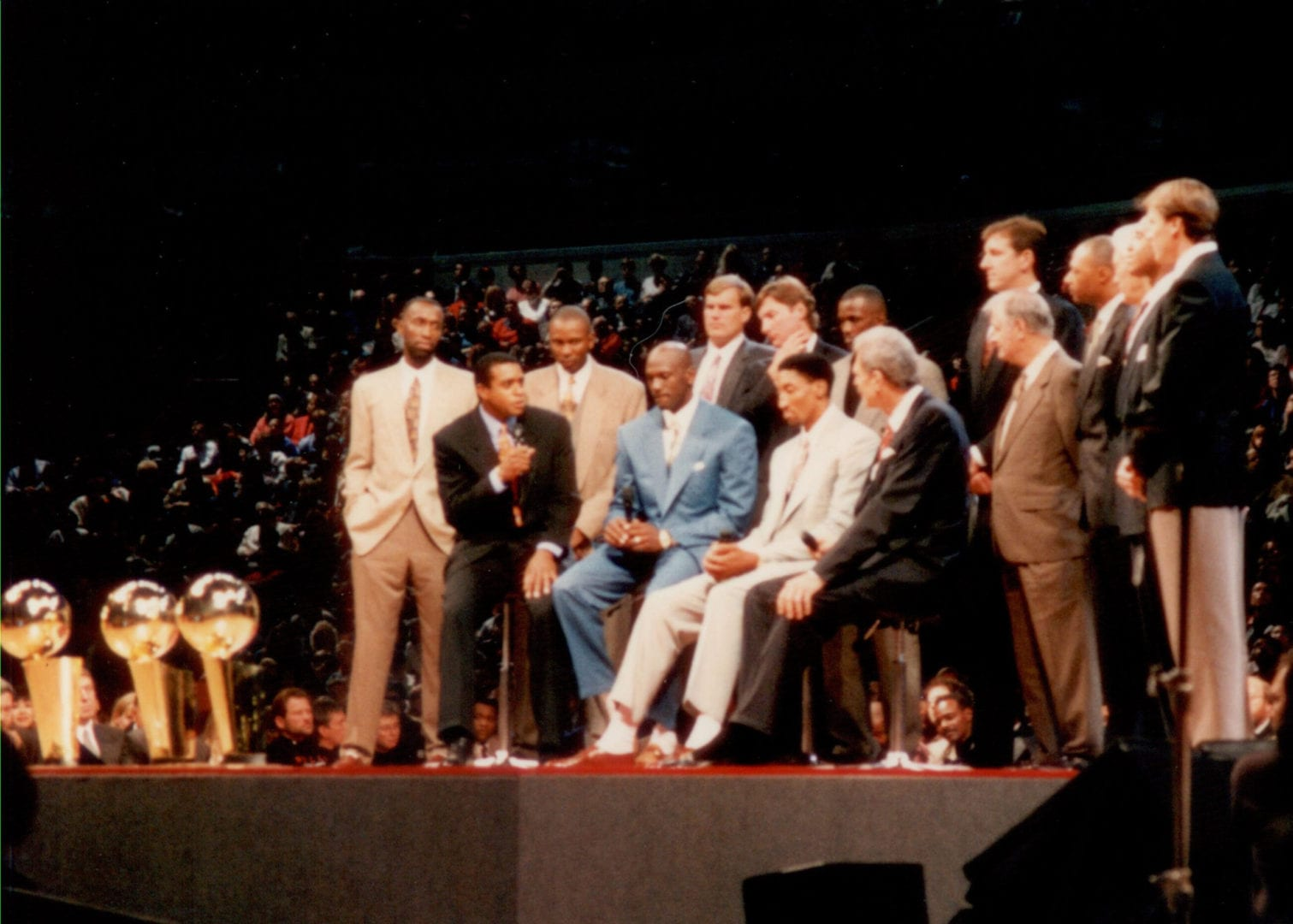 MJ on stage during his retirement