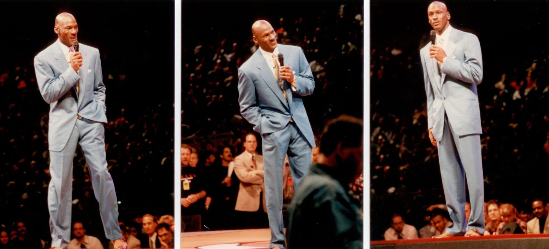 A three split images of Michael Jordan