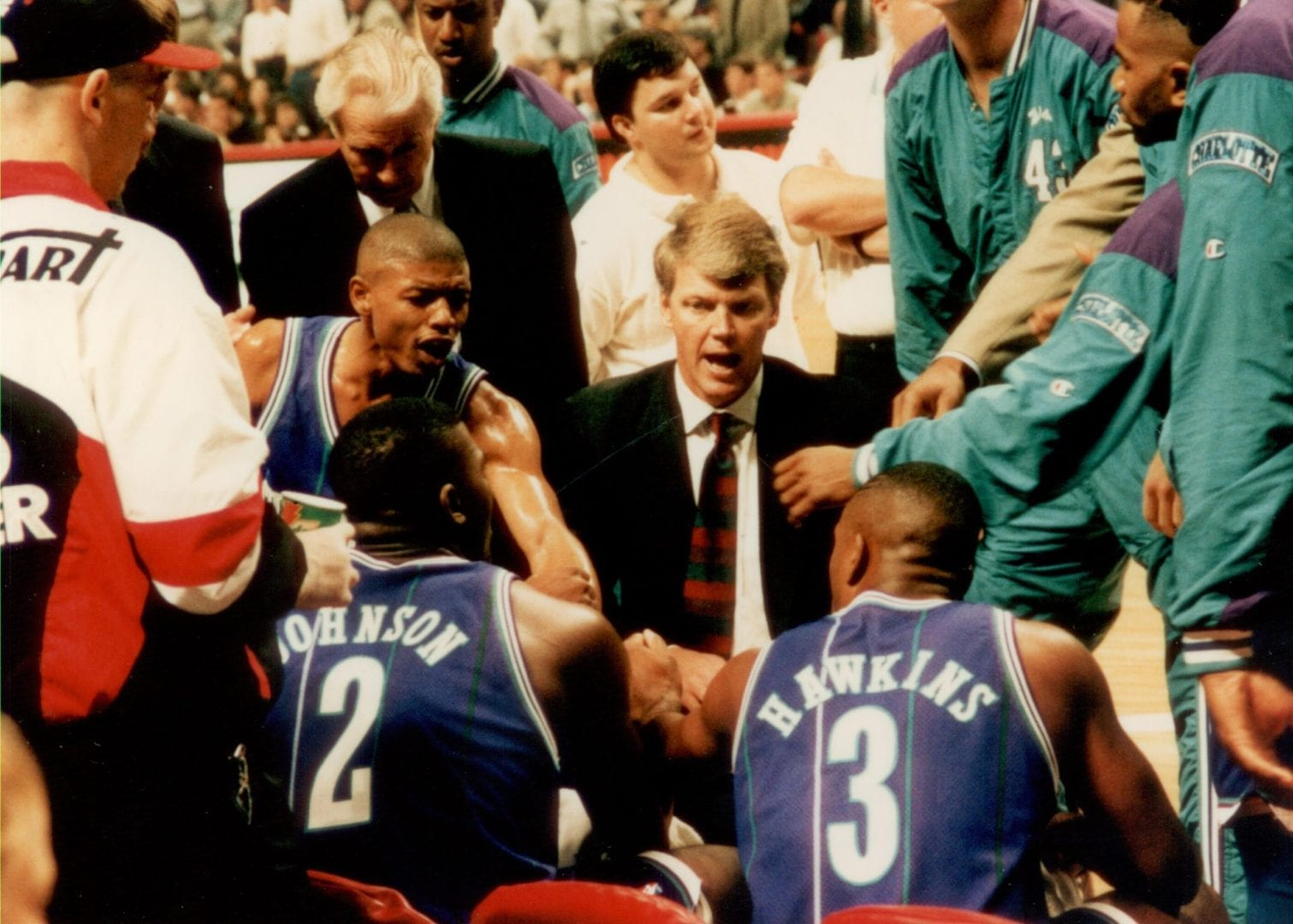 The Hornets in a huddle