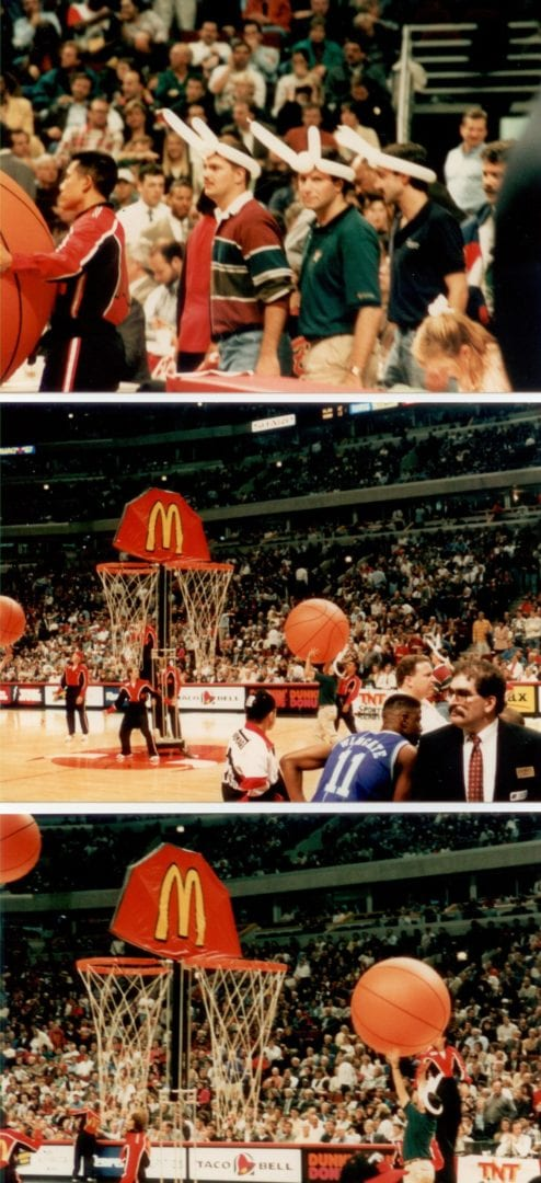Three split images of the Bulls game