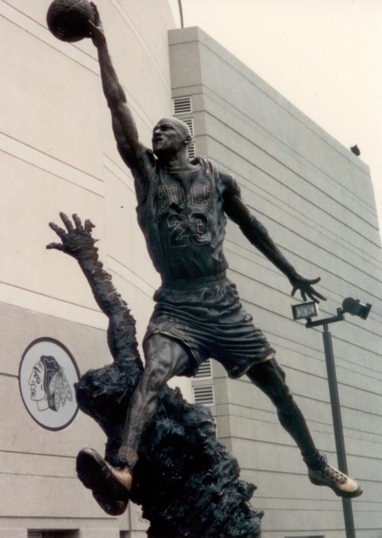 A close up look on the statue of MJ