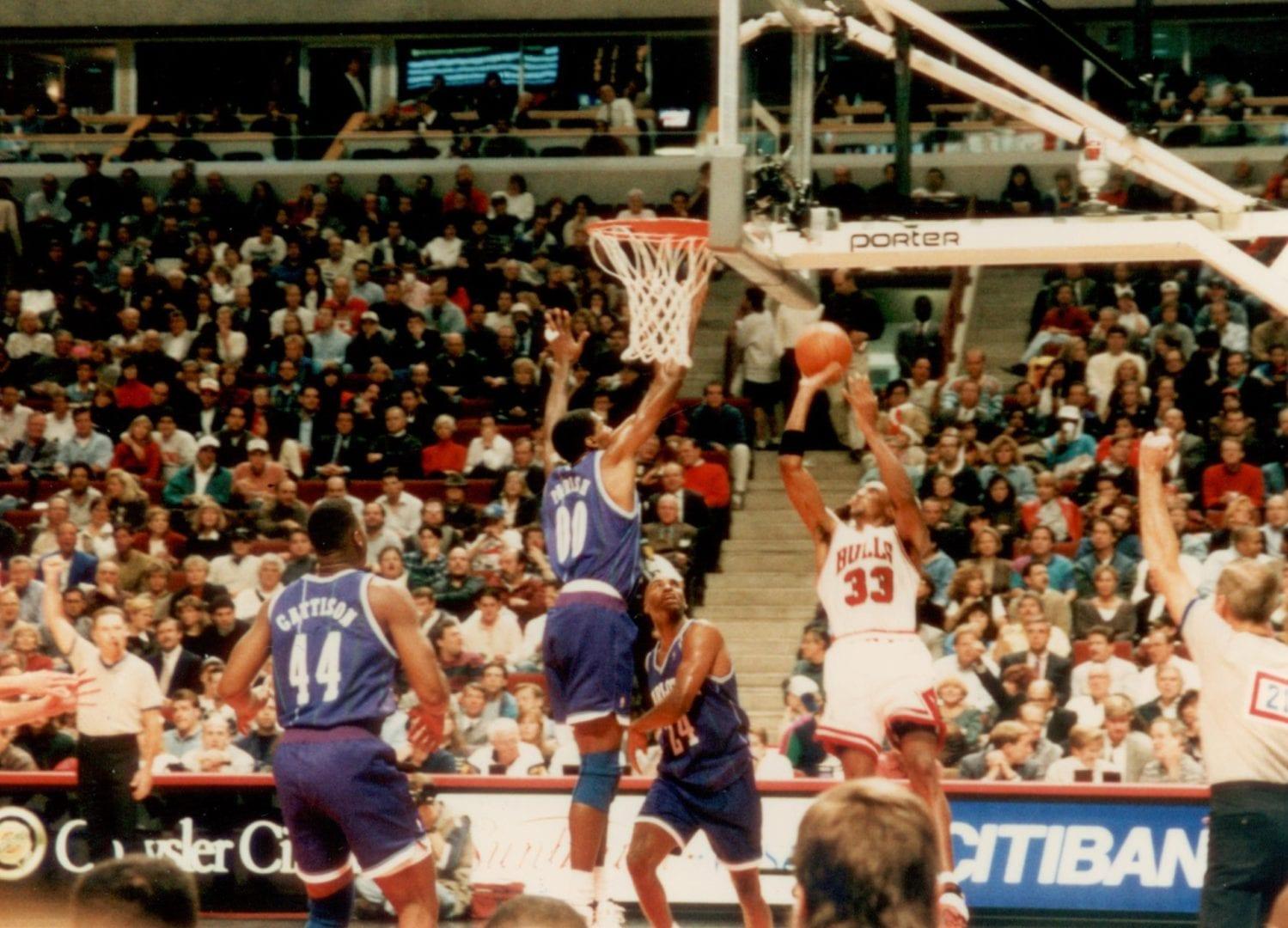 Scottie Pippen doing a jump shot