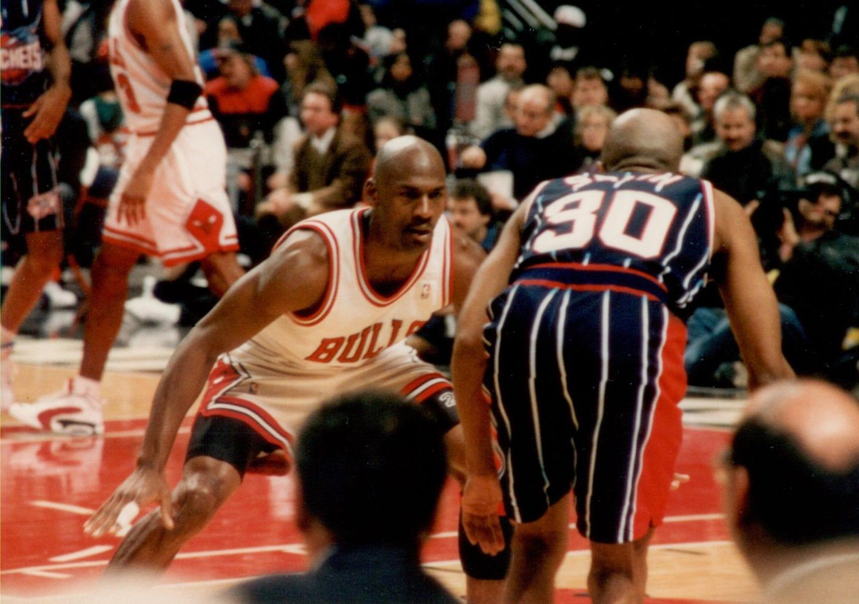 MJ guarding Kenny Smith