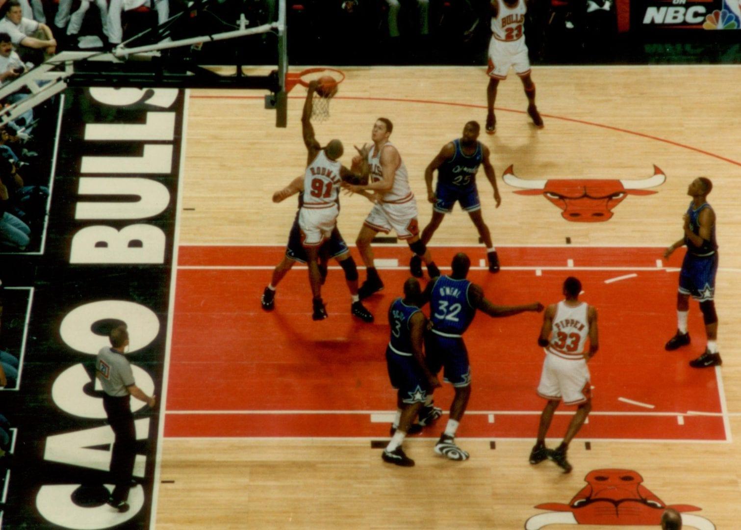 Dennis Rodman doing a dunk