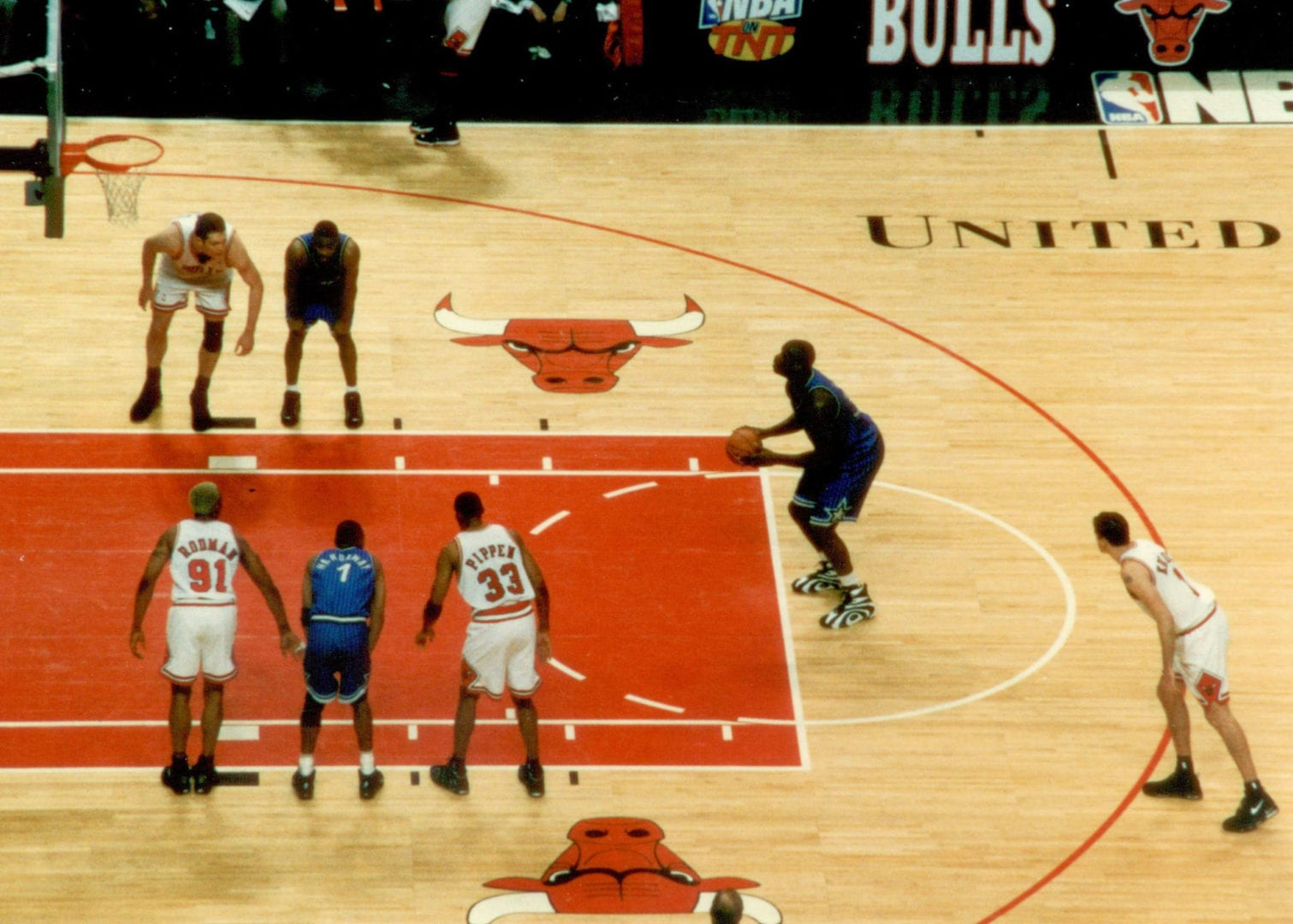Shaquille O'Neal with his free throw